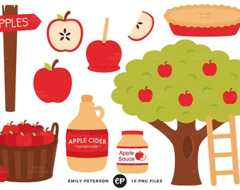 Apple Orchard Clip Art, Apples Clipart, Apple Tree Clip Art - Commercial Use, Instant Download