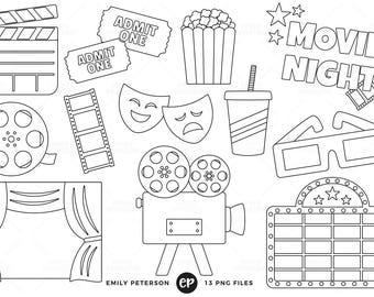 Movie Night Digital Stamps, Film Line Art, Cinema Clip Art - Commercial Use, Instant Download