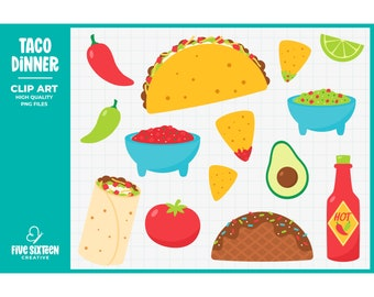 Taco Tuesday Clip Art, Taco Clipart, Fiesta Clip Art - Commercial Use, Instant Download