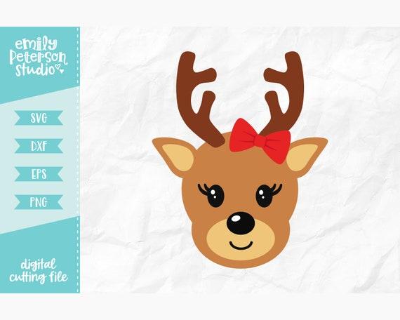 Reindeer Face Girl Svg Christmas Svg Svg Dxf Eps Png Etsy