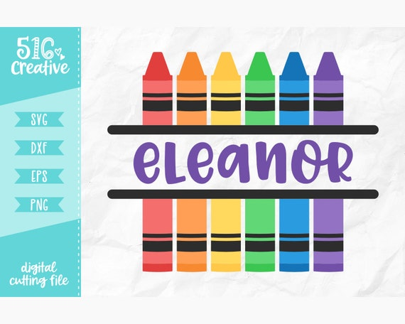 Crayons Svg Monogram Crayons Svg Svg Dxf Eps Png Cutting Etsy