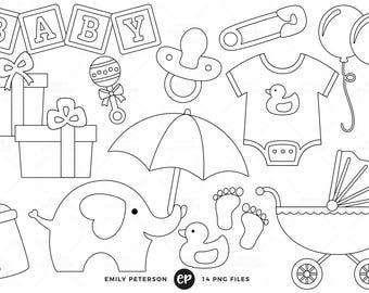 50 RABATT Baby Dusche Digital Briefmarken Neutral Linie Kunst