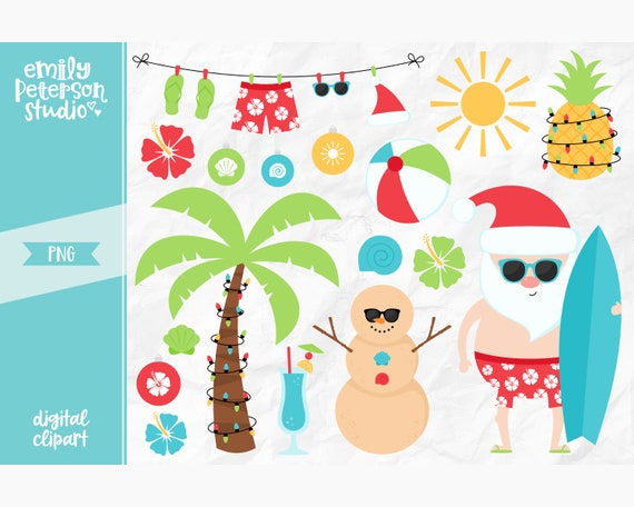 Christmas In July Santa Clipart.Christmas In July Clip Art Tropical Santa Clipart Christmas Beach Clip Art Commercial Use Instant Download