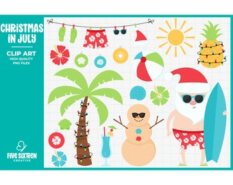 Christmas in July Clip Art, Tropical Santa Clipart, Christmas Beach Clip Art - Commercial Use, Instant Download