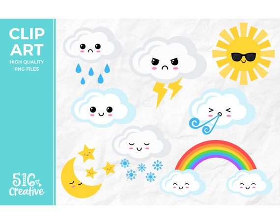 Rainbow Digital Download Weather Clipart Spring Clipart Cloud Clipart Rainbow Clipart Set Commercial Use