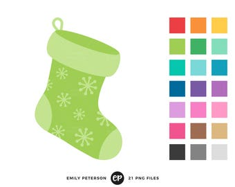 Christmas Stocking Clip Art, Christmas Clipart, Winter Clip Art - Commercial Use, Instant Download