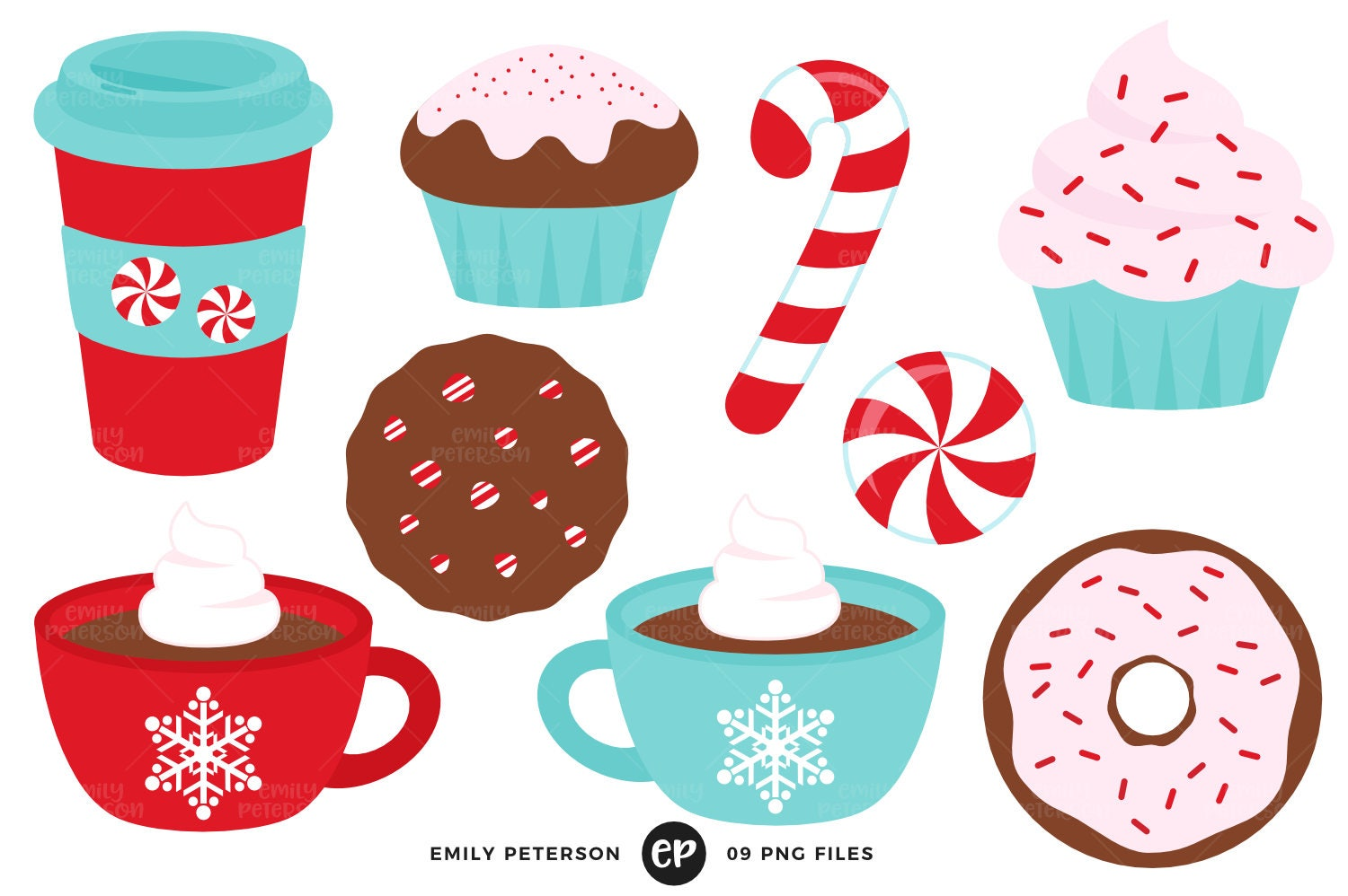Peppermint Clip Art Winter Clipart Coffee Clip Art | Etsy