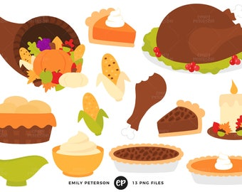 50% OFF SALE! Thanksgiving Clip Art, Turkey Clipart, Thanksgiving Dinner Clip Art - Commercial Use, Instant Download