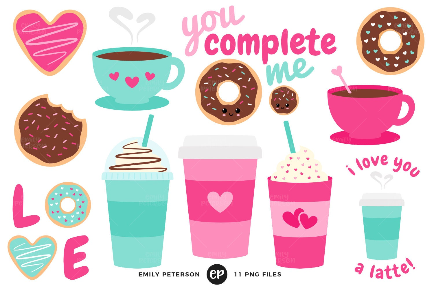 Coffee Clip Art Valentine's Day Clipart Donuts Clip Art | Etsy