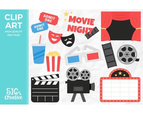 Movie Night Clip Art Film Clipart Cinema Clip Art Etsy