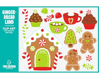 Gingerbread Man Clip Art, Christmas Clipart, Gingerbread Cookie Clip Art - Commercial Use, Instant Download