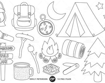 50% OFF SALE! Camping Digital Stamps, Summer Line Art, Campground Clip Art - Commercial Use, Instant Download
