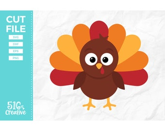Turkey SVG, Thanksgiving SVG - svg dxf eps png - Cutting File, Cut File - Commercial Use, Instant Download