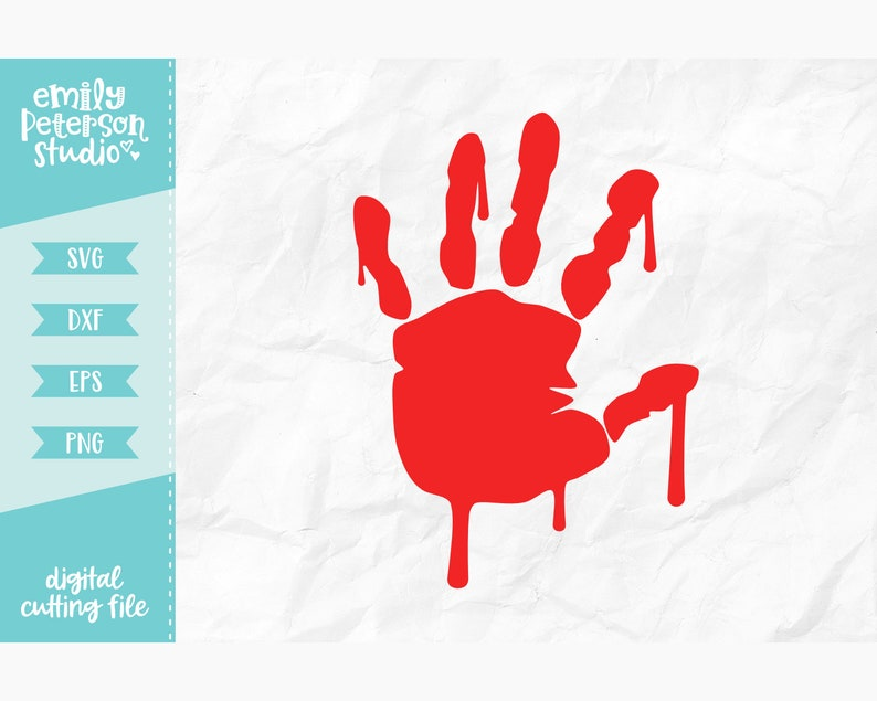 Commercial Use Svg Dxf Eps Png Cutting File Bloody Handprint Svg Halloween Svg Cut File Instant