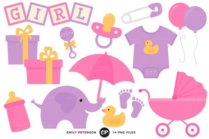 Baby Shower Clip Art Baby Girl Clipart Nursery Clip Art Etsy