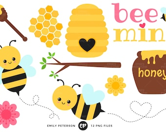 Bumblebee Clip Art, Honey Clipart, Bee Clip Art - Commercial Use, Instant Download