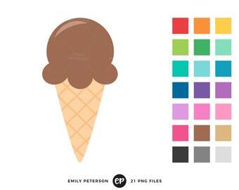 Ice Cream Clip Art, Summer Clipart, Ice Cream Cone Clip Art - Commercial Use, Instant Download