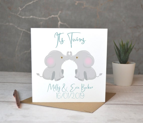 Personalised Twins Card Eco friendly card Personalised New Baby Card It/'s Twins no plastic card recycled card