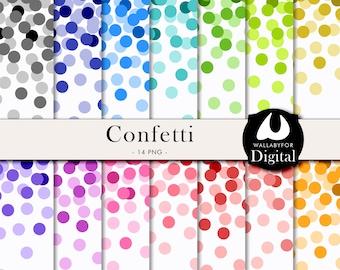 Confetti digital paper Confetti clipart Confetti PNG & JPG Colorful confetti Confetti backgrounds for scrapbooking Instant download