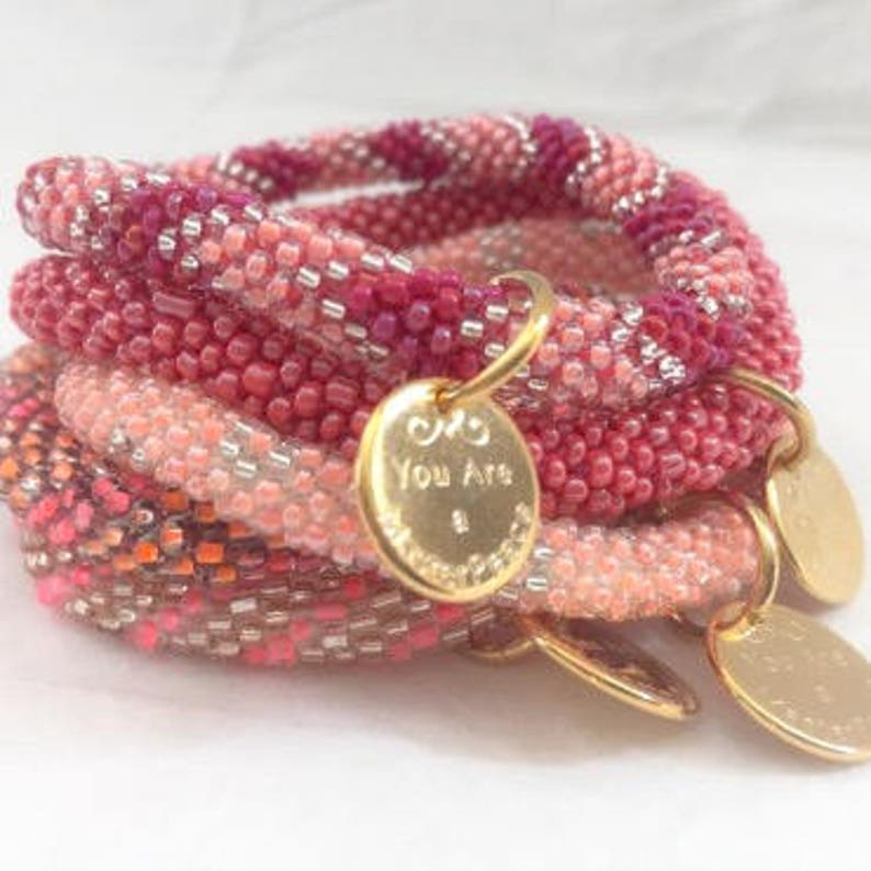 Five Bracelet Stack in Rose Garden image 0
