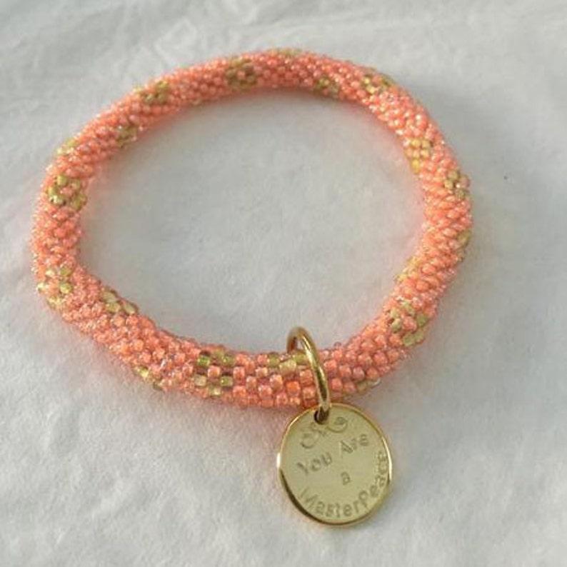 Peach Rose Bracelet image 1