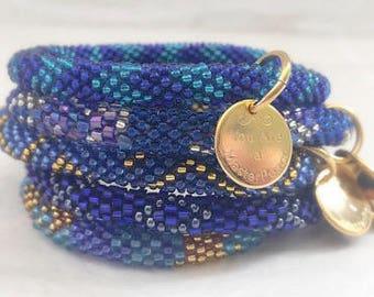 Five Bracelet Stack in Starry Blue