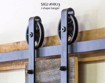 6.6 ft, HK13 Sliding Barn Door Hardware Kit, J Shape Hangers, Big Industrial Wheel