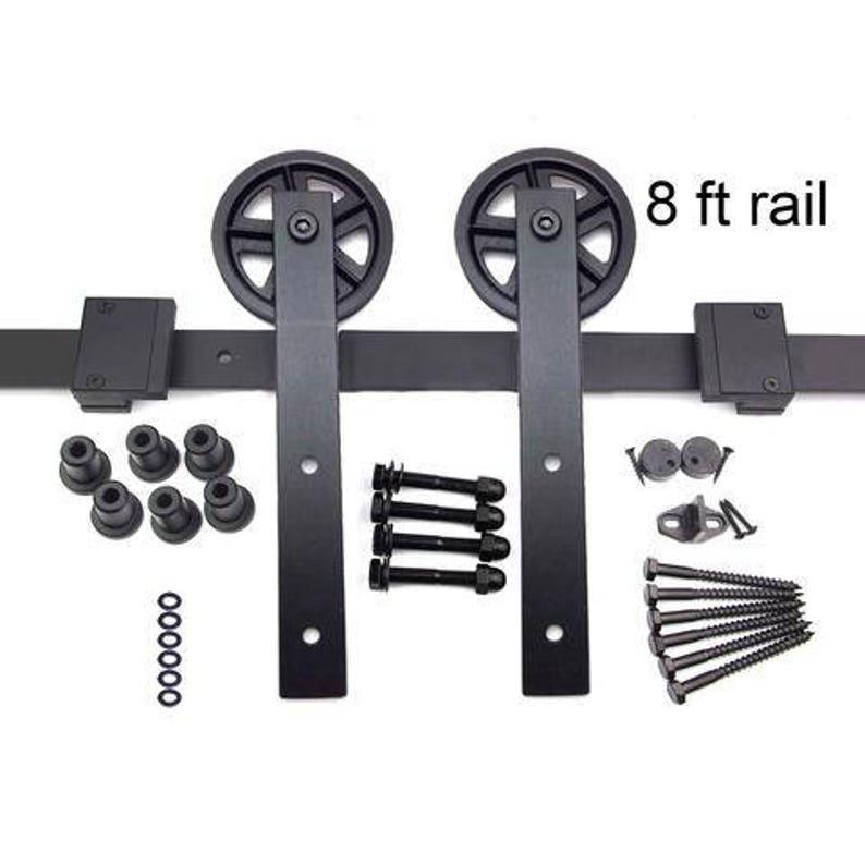 8 ft HK148 Sliding Barn Door Hardware Kit Straight Hangers | Etsy Sliding Door Hardware Ft on