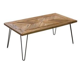 ET4222H, Coffee Table, Reclaimed Elm Wood, Herringbone Style