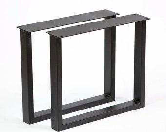 "H 16 inch, W5033D2 Coffee Table U Shaped Metal Tube Legs 18""x16"", Black Powder Coated"