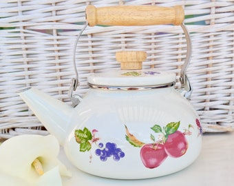 kettle Antique enameled kettle, enamel kitchen decoration, French vintage, shabby chic style, french countryside, farmhouse