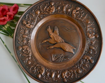 Large Copper Decorative Plate French Country Style Vintage Plate Bird Swan Flute Player Copper Dish & Copper wall plate | Etsy
