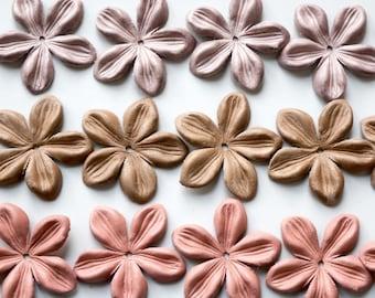 jasmine leather flowers set of 15 pcs