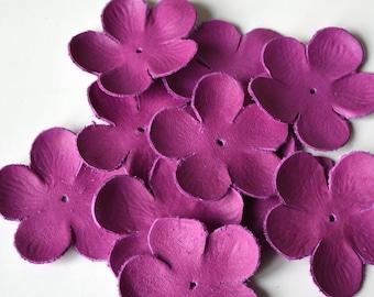 sakura leather flowers set of 10 pcs