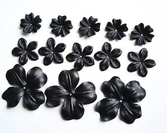 leather flowers set of 13 pcs