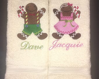 His and Hers Towel Set - Gingerbread
