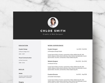 Professional and Modern Resume Template for Word - Creative Resume Design - CV Template for Word - Instant Download Resume