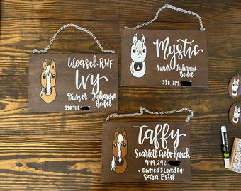 Hanging show stall signs