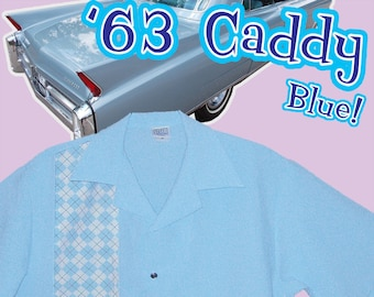 Bowling Shirts - Free Shipping - Retro Style 63 Caddy Argyle Blue Vintage Color