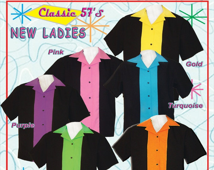Women's Ladies Bowling Shirt - Ladies Retro Style Bowling Shirts - Free Shipping
