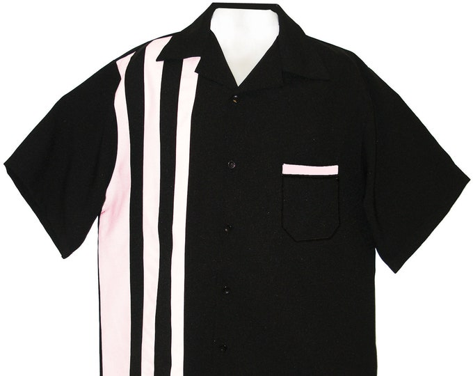 Men's Bowling Shirt - Free Shipping - Retro 50's Style - Shoopster Blank and Pink