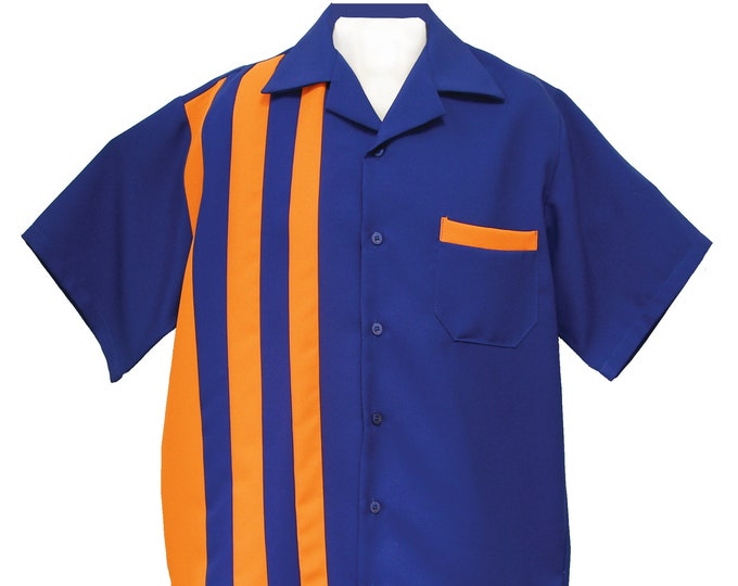 Men's Bowling Shirt - Free Shipping - Retro 50's Style Clothing - Shoopster Royal Blue and Orange
