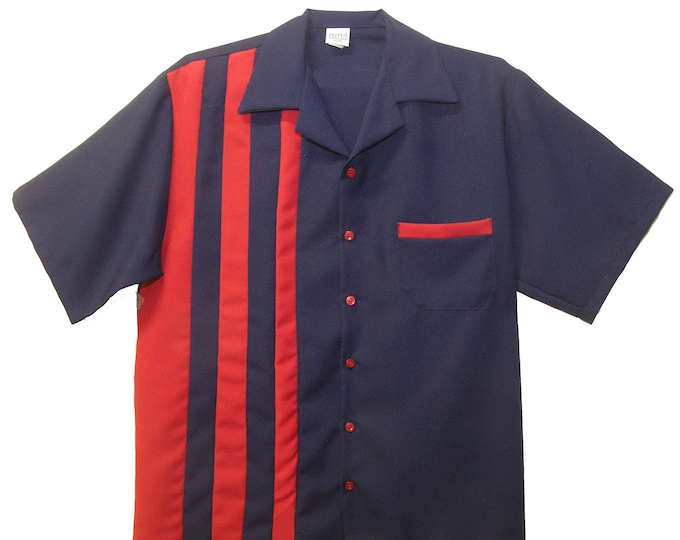 Men's Bowling Shirt - Free Shipping - Retro 50's Style - Shoopster Navy with Red Stripes
