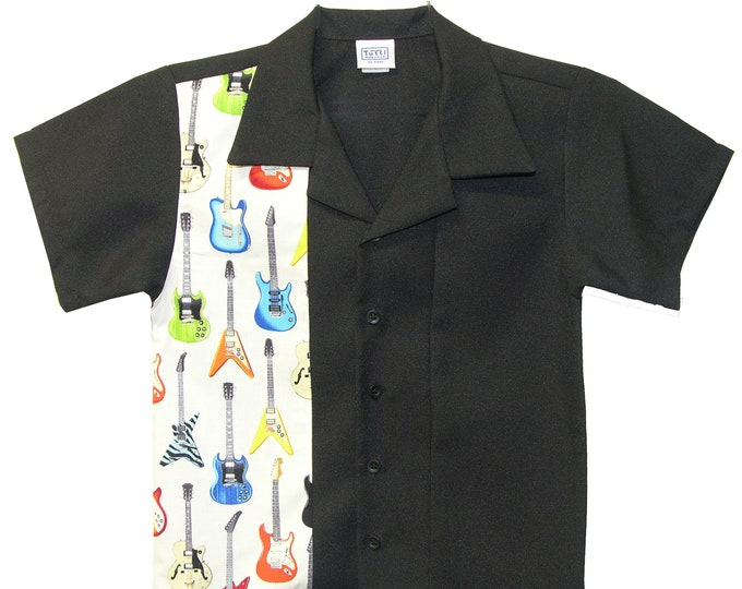 Kids Bowling Shirt - Free Shipping - Rock n Roll Guitar Design