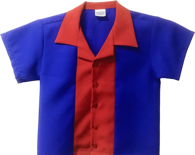 Kids Bowling Shirt - Free Shipping - Royal Blue and Red