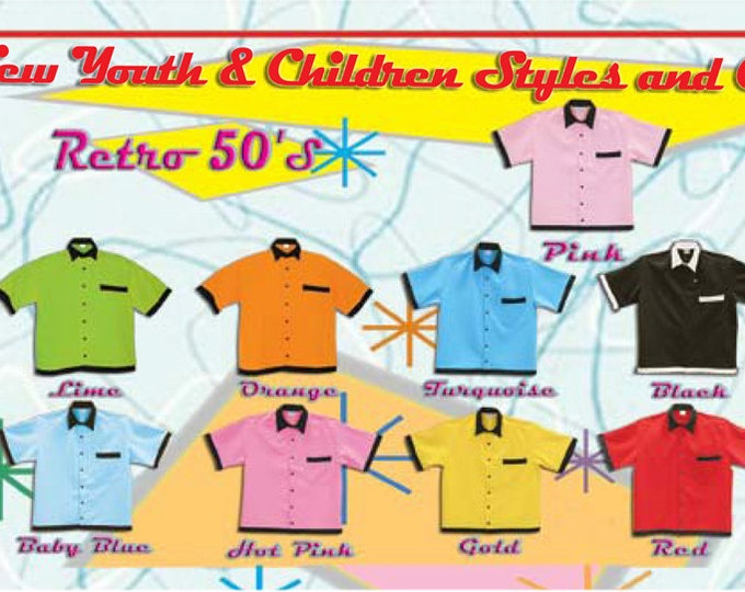 Kids Bowling Shirts - Free Shipping - 9 Kids and Youth Bowling Shirt Colors