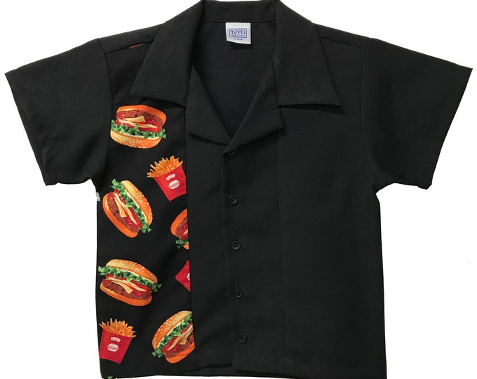 Kids Bowling Shirt - Free Shipping - Burger and Fries Print Design