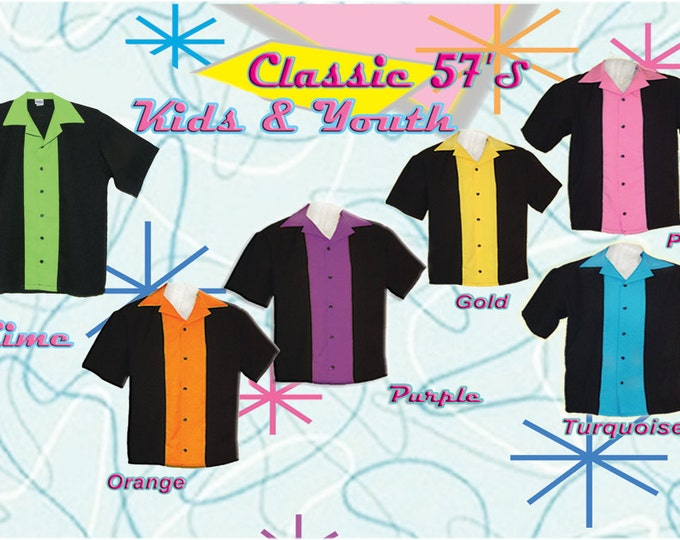 Kids Bowling Shirts - Free Shipping - Classic 57's in 8 Colors in Kids and Youth Sizes
