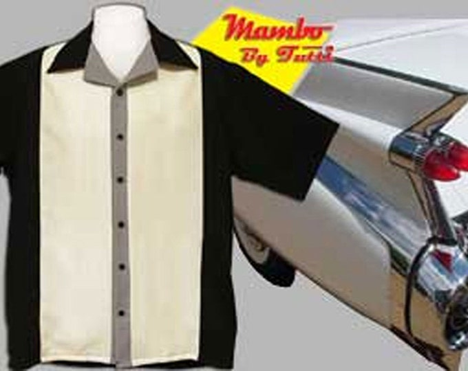 Men's Bowling Shirts - Free Shipping - Retro Style Bowling Shirts - Mambo Black and Cream