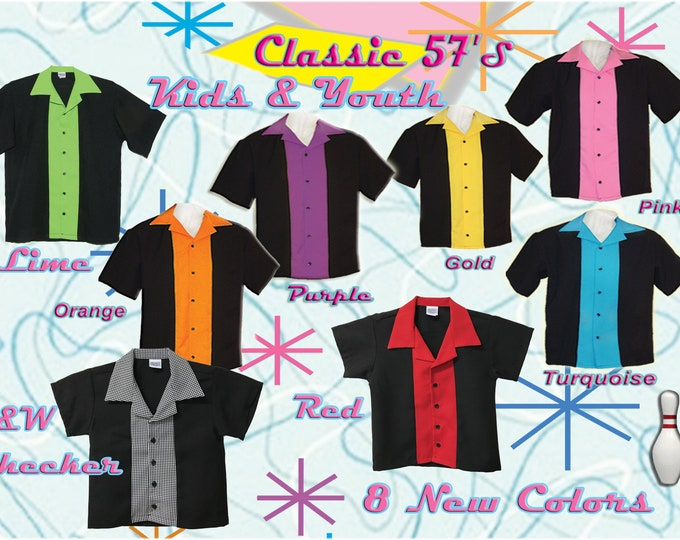 Kids Bowling Shirts - Free Shipping - 8 New Colors in Kids and Youth Sizes